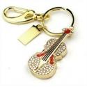 Crystal Violin / Violin - 8GB USB Stick 2.0 - Crystal Diamond Violin - Gold/Red