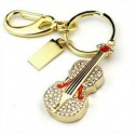 Kristall Violine / Geige - 8GB USB Stick 2.0 - Crystal Diamond Violin - Gold/Rot