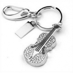 Crystal Violin / Violin - 8GB USB Stick 2.0 - Crystal Diamond Violin - Chrome/Black