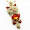 Enchanting Crystal Cat Red - 8GB USB Stick