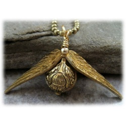Quidditch necklace with 3D schnatz (snitch) - gold plated and shaded