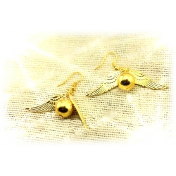 Quidditch earring set golden snatz (snitch), gold plated