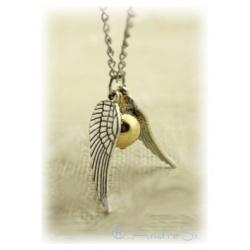 Quidditch Halskette mit Schnatz (Snitch) - zwei silberne Flügel (lose) und kleine Kugel - mit versilberter 80cm Kette