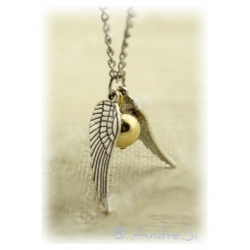 Quidditch necklace with snatz (snitch) - two silver wings (loose) and small ball - with silver-plated 80cm chain
