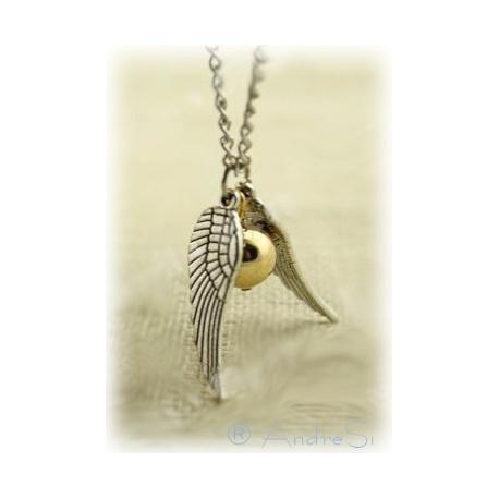 Quidditch Halskette mit Schnatz (Snitch) - zwei silberne Fl?gel (lose) und kleine Kugel - mit versilberter 80cm Kette