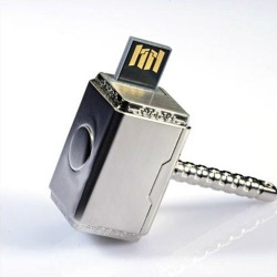 Marvel Avengers Thor Hammer 8GB USB Stick, Flash Drive, USB 2.0, Superheld Silber / Chrome