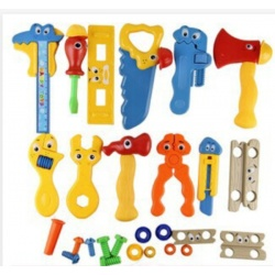 Cartoon game tool mega set with funny tools, as toys