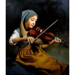 "Painting young girl plays violin /violin ""young girl playing violin"" hand painted replica of the original's"