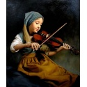 """Painting young girl plays violin /violin """"young girl playing violin"""" hand painted replica of the original's"""