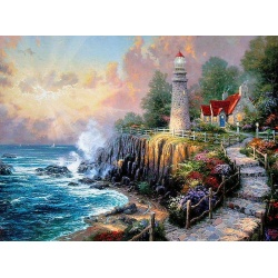 "Thomas Kinkade's Gemälde Leuchtturm ""The Light of Peace"" handgemalte Replik des Original's"