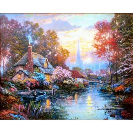 "Thomas Kinkade's Gem?lde ""Nanette's Cottage"" handgemalte Replik des Original's"