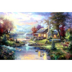 "Kinkade's painting ""lake small bridge scenery"" hand-painted replica of the original's"