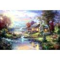 "Kinkade's painting ""lake small bridge scenery"" hand-painted replica of the original's"