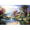 "Kinkade's Gemälde "" lake small bridge scenery"" handgemalte Replik des Original's"