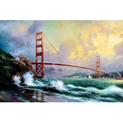 "Kinkade's Gemälde ""Golden Gate Bridge San Francisco"" handgemalte Replik des Original's"