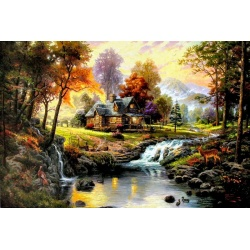 "Kinkade's Gemälde ""Mountain Retreat"" handgemalte Replik des Original's"