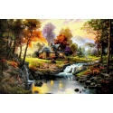 "Kinkade's painting ""Mountain Retreat"" hand-painted replica of the original's"
