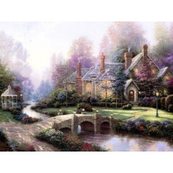 "Kinkade's painting ""lake small bridge"" hand-painted replica of the original's"