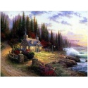 "Kinkade's painting ""Quiet Gardene"" hand-painted replica of the original's"