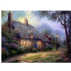 "Kinkade's painting ""Quiet Fazenda"" hand-painted replica of the original's"