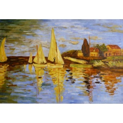 "Claude Monet Oil Painting ""The Regatta at Argenteuil"" Hand Painted Replica of The Original's"