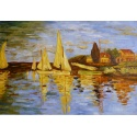 """Claude Monet Oil Painting """"The Regatta at Argenteuil"""" Hand Painted Replica of The Original's"""
