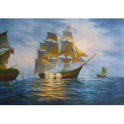 Seeschlacht handgemalte Replik des Original's eines unbekannten Malers