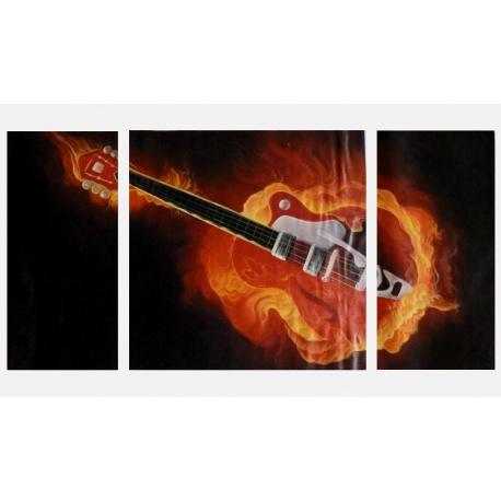 flammende Rock Gitarre - drei teiliges Wandbild als echtes ?l Gem?lde
