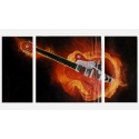 flaming rock guitar - three part mural stylish as real oil painting