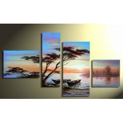 Afrikanische Landschaft - vier teiliges Wandbild als echtes Öl Gemälde