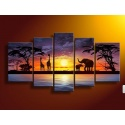 African Landscape Evening Red - five part mural as real oil painting