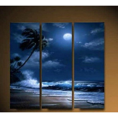 Palmeninsel am Meer bei Nacht - drei teiliges Wandbild als echtes ?l Gem?lde