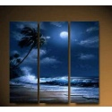 Palm Island by the Sea at Night - three part mural as real oil painting
