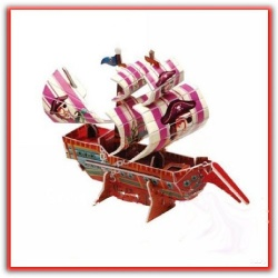 3d Paper Puzzle Pirate Ship Red Corsar - Curse of the Caribbean - Creative Calebou Paper Scale Model (Red Corsair)