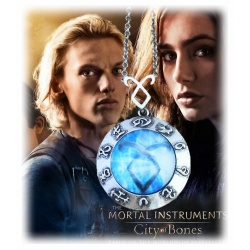 "City of Bones - Chronicles of the Underworld - Blue Rune of the Angel Raziel - Pendant ""Heavenly Power"" - Vintage Rune Angelic P"