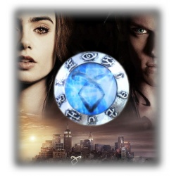 "City of Bones - Chronicles of the Underworld - Blue Rune of the Angel Raziel - Brooch ""Heavenly Power"" - Vintage Rune Angelic Po"