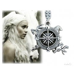 Targaryen pendant - symbolic compass for unifying the rich - hard silver plated & shaded