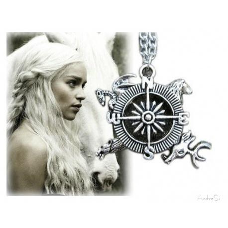 Targaryen Anh?nger - symbolischer Kompass zur Vereinigung der Reiche - hartversilbert & schattiert