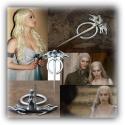 Targaryen Drachenbrosche - groß - hartversilbert & schattiert - Daenerys's Dragon (Wolf) Brooch - G.o.T, Fashion