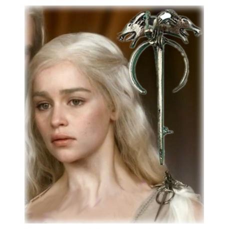Targaryen Drachenbrosche -klein - hartversilbert & schattiert - Daenerys's Dragon (Wolf) Brooch - G.o.T, Fashion