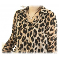 sommerleichte Sexy Leopard Bluse, Lang, Chiffon Gr??e L