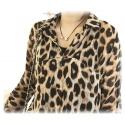 sommerleichte Sexy Leopard Bluse, Lang, Chiffon Größe L