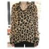 sommerleichte Sexy Leopard Bluse, Lang, Chiffon Gr??e L