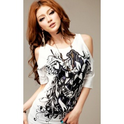 Sexy stylish off-the-shoulder logo shirt printed on both sides, slanted cut