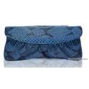 edle Struktur-Leder Handtasche Abend-Tasche blau