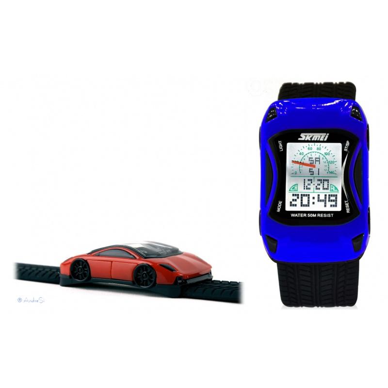rennwagen racing car kinder uhr digital mit led farbauswahl. Black Bedroom Furniture Sets. Home Design Ideas