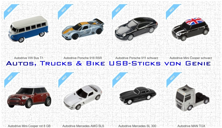 Genie USB Auto, Truck und Bike Sticks